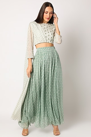 Green Embroidered & Printed Lehenga Set by Suave by Neha & Shreya