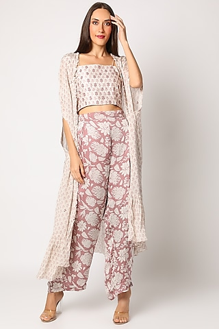 Blush Pink Embroidered & Printed Palazzo Pants Set by Suave by Neha & Shreya