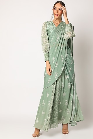 Green Printed Saree With Blouse by Suave by Neha & Shreya