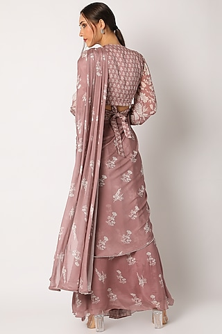 Blush Pink Printed Saree With Blouse by Suave by Neha & Shreya