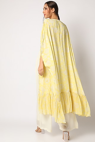 Yellow Printed & Embroidered Palazzo Pants Set by Suave by Neha & Shreya
