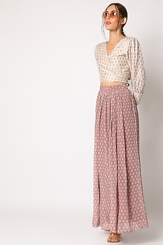 Blush Pink Embroidered & Printed Skirt Set by Suave by Neha & Shreya