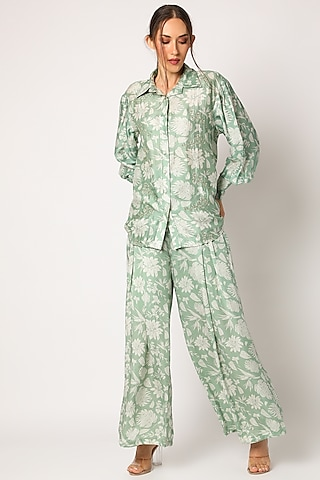 Green Embroidered & Printed Pants Set by Suave by Neha & Shreya