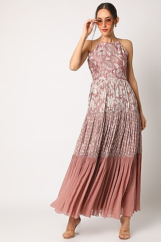 Blush Pink Embroidered & Printed Maxi Dress by Suave by Neha & Shreya