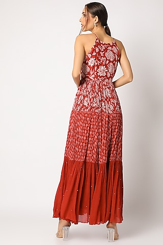 Red  Embroidered & Printed Maxi Dress by Suave by Neha & Shreya