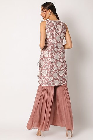 Blush Pink Embroidered & Printed Sharara Set by Suave by Neha & Shreya