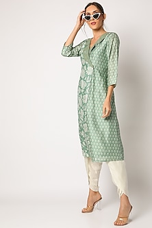 Green Embroidered & Printed Blazer Kurta Set by Suave by Neha & Shreya
