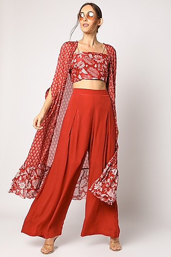 Red Embroidered & Printed Palazzo Pants Set by Suave by Neha & Shreya