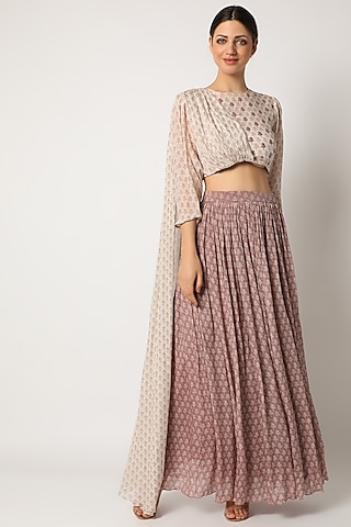 Blush Pink Embroidered Lehenga Set by Suave by Neha & Shreya
