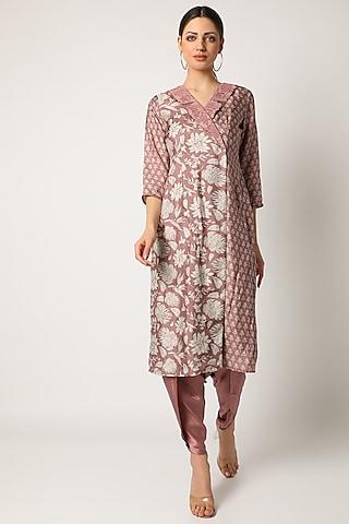 Blush Pink Embroidered Blazer Kurta Set by Suave by Neha & Shreya