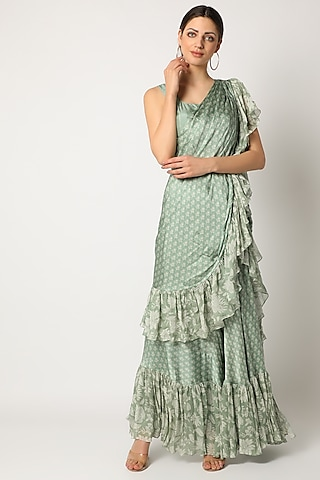 Mint Green Embroidered Pre-Stitched Saree Set by Suave by Neha & Shreya