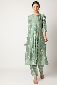 Mint Green Embroidered & Printed Kurta Set by Suave by Neha & Shreya