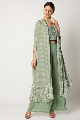 Mint Green Embroidered Pant Set by Suave by Neha & Shreya