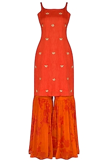 Orange Embroidered & Printed Sharara Set by Suave by Neha & Shreya