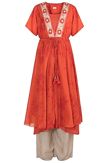 Orange Embroidered Printed Kaftan Kurta With Palazzo Pants & Inner by Suave by Neha & Shreya