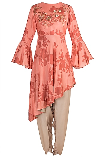 Pink Embroidered Asymmetric Kurta With Dhoti Pants by Suave by Neha & Shreya