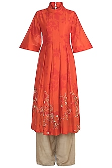 Orange Printed & Embroidered Kurta With Palazzo Pants by Suave by Neha & Shreya