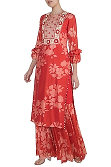 Red Embroidered Printed Kurta With Sharara Pants by Suave by Neha & Shreya