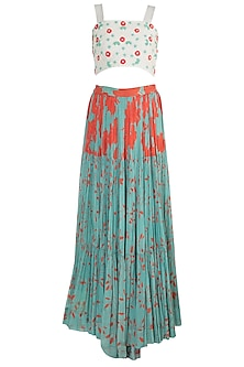 Teal Green Embroidered & Printed Skirt With Crop Top by Suave by Neha & Shreya