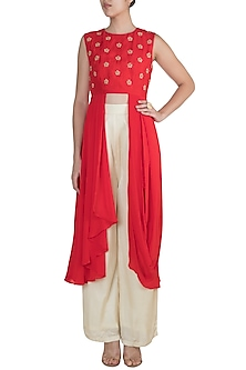 Red Embroidered Asymmetric Tunic With Pants by Suave by Neha & Shreya