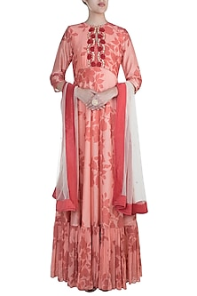 Pink Embroidered Printed Gown With Dupatta by Suave by Neha & Shreya