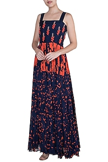 Navy Blue Embroidered & Printed Maxi Dress by Suave by Neha & Shreya