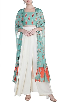 Teal Green Embroidered Printed Crop Top With Cape & Cream Pants by Suave by Neha & Shreya