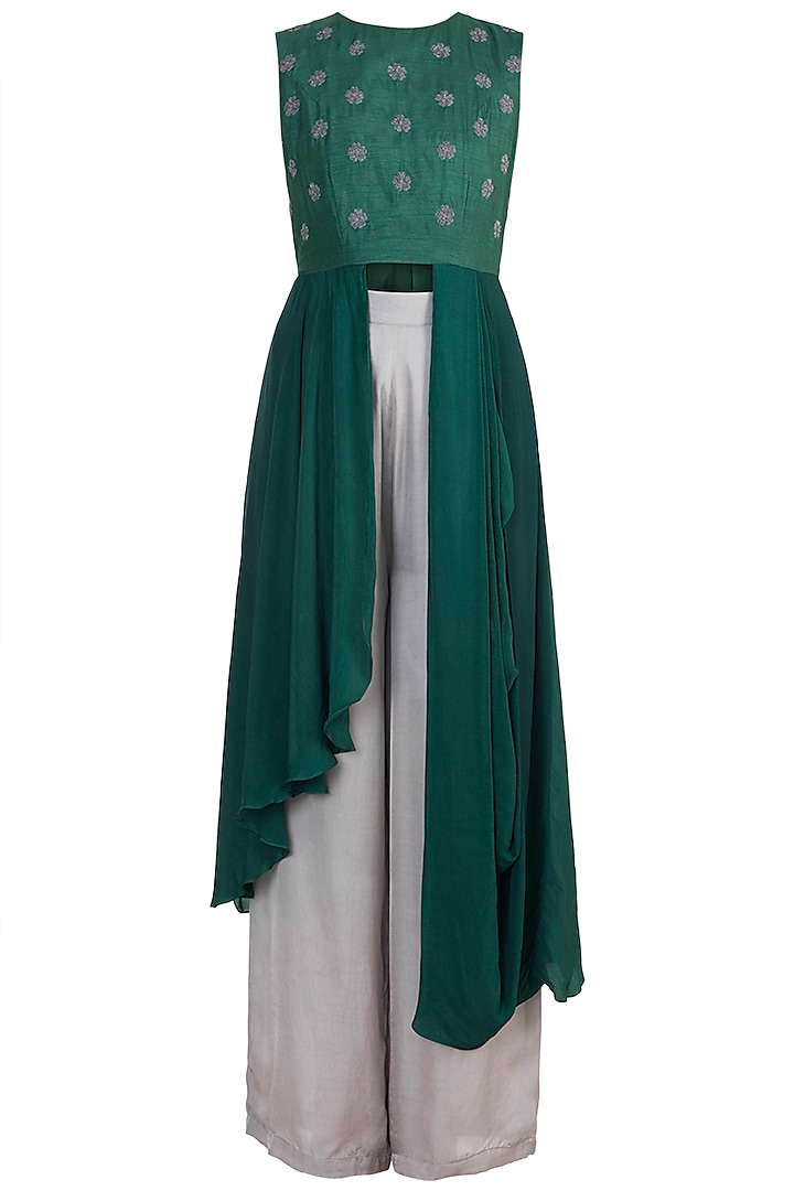 Green Embroidered Tunic With Pants by Suave by Neha & Shreya