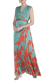 Teal Green Embroidered Draped Gown by Suave by Neha & Shreya