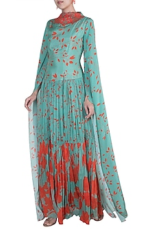 Teal Green Embroidered Gown by Suave by Neha & Shreya