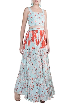 Blue Embroidered Crop Top With Printed Skirt by Suave by Neha & Shreya