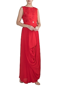 Red Embroidered Gown With Pleated Belt by Suave by Neha & Shreya