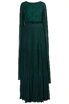 Green Embroidered Crop Top With Tiered Skirt by Suave by Neha & Shreya