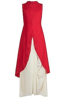 Red Embroidered Kurta With Cream Drape Skirt by Suave by Neha & Shreya