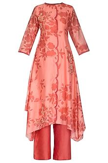 Pink Embroidered & Printed Kurta With Palazzo Pants by Suave by Neha & Shreya