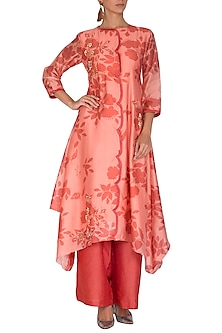 Pink Embroidered & Printed Kurta With Palazzo Pants by Suave by Neha & Shreya