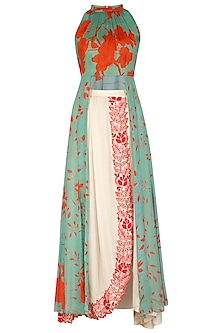Sea Green Printed Kurta With Embroidered Wrap Skirt by Suave by Neha & Shreya
