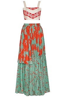 Sea Green Printed Skirt With Embroidered Crop Top by Suave by Neha & Shreya