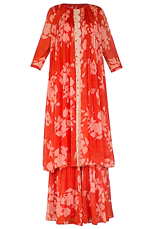 Red Embroidered & Printed Pleated Kurta With Sharara Pants by Suave by Neha & Shreya