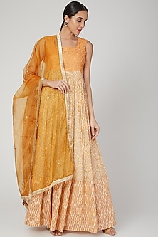 Mustard Embroidered Anarkali With Dupatta by Suave by Neha & Shreya