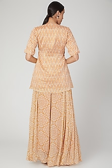 Mustard Hand Embroidered Gharara Set by Suave by Neha & Shreya