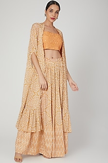 Mustard Embroidered & Printed Cape Lehenga Set by Suave by Neha & Shreya