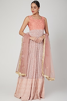 Blush Pink Embroidered Anarkali With Dupatta by Suave by Neha & Shreya
