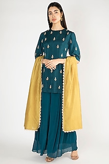 Midnight Blue Embroidered Sharara Set by Suave by Neha & Shreya