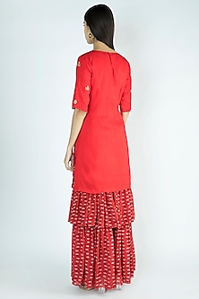 Red Printed Embroidered Kurta With Sharara Pants by Suave by Neha & Shreya