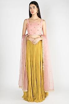 Blush Pink Embroidered Lehenga Set by Suave by Neha & Shreya