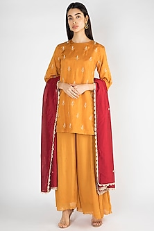 Mustard Embroidered Sharara Set by Suave by Neha & Shreya