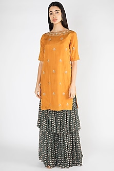 Mustard Printed Embroidered Kurta With Sharara Pants by Suave by Neha & Shreya