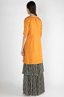 Mustard Printed Embroidered Kurta With Sharara Pants by Suave by Neha & Shreya