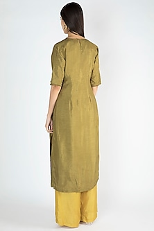 Olive Green Embroidered Kurta Set by Suave by Neha & Shreya